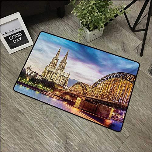 (European,Carpet Flooring Illuminated Dom in Cologne Old Bridge and Rhine Sunset European Culture Print W 31