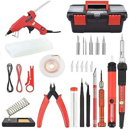 Kit de soldadura de hierra, NEWACALOX 60W Kit de Soldadura de hierro Adjustable Eléctrico con 5 ...
