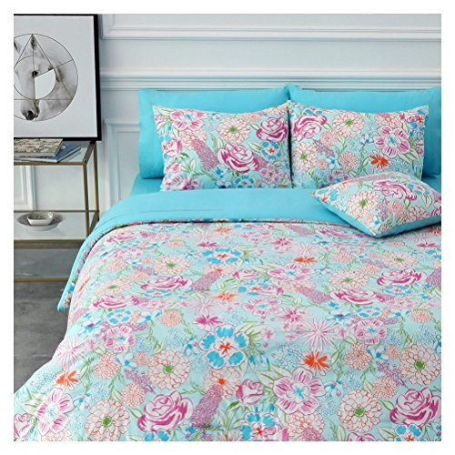 HuaFang Home 8 Piece Bed-in-a-Bag Comforter Set Includes 1 Comforter, 1 Decorative Pillows, 2 Shams, 4 Piece Sheet Set All-Season Printed Bedding Cotton Comforter Set Hypoallergenic (Lily, Queen)