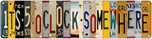 KENSILO Five O Clock Somewhere Metal Tin Signs Vintage Wall Decor for Home Bar Diner Pub Drinking Funny Bar Sign 16 x 4 inches
