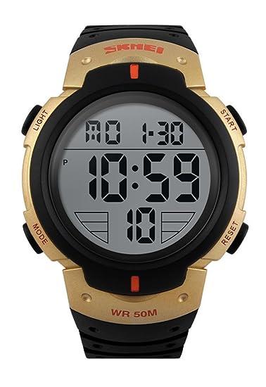 carlien Hombres Deportes al aire libre Digital LED del reloj oro: Amazon.es: Relojes