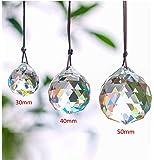 H&D 30/40/50mm Faceted Crystal Ball Chandelier Prisms Ceiling Lamp Lighting Hanging Drop Pendants 3pcs (Clear-Set)