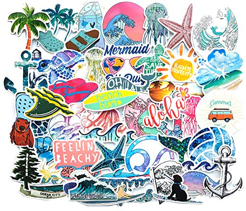 Water Bottle Sea Stickers Vacation Stickers Pack 50 Pcs Outdoors Aesthetic Beach Surfing Decals for Water Bottle Laptops Ipad Cars Luggages