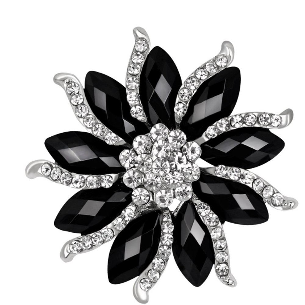 CHUYUN Cool Black White Rhinestone Big Flower Brooch Pin Fashion Winter Jewelry