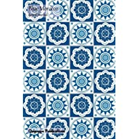 Blue Morocco Lined Journal: Medium College Ruled Notebook With Sun and Clouds Pattern Cover