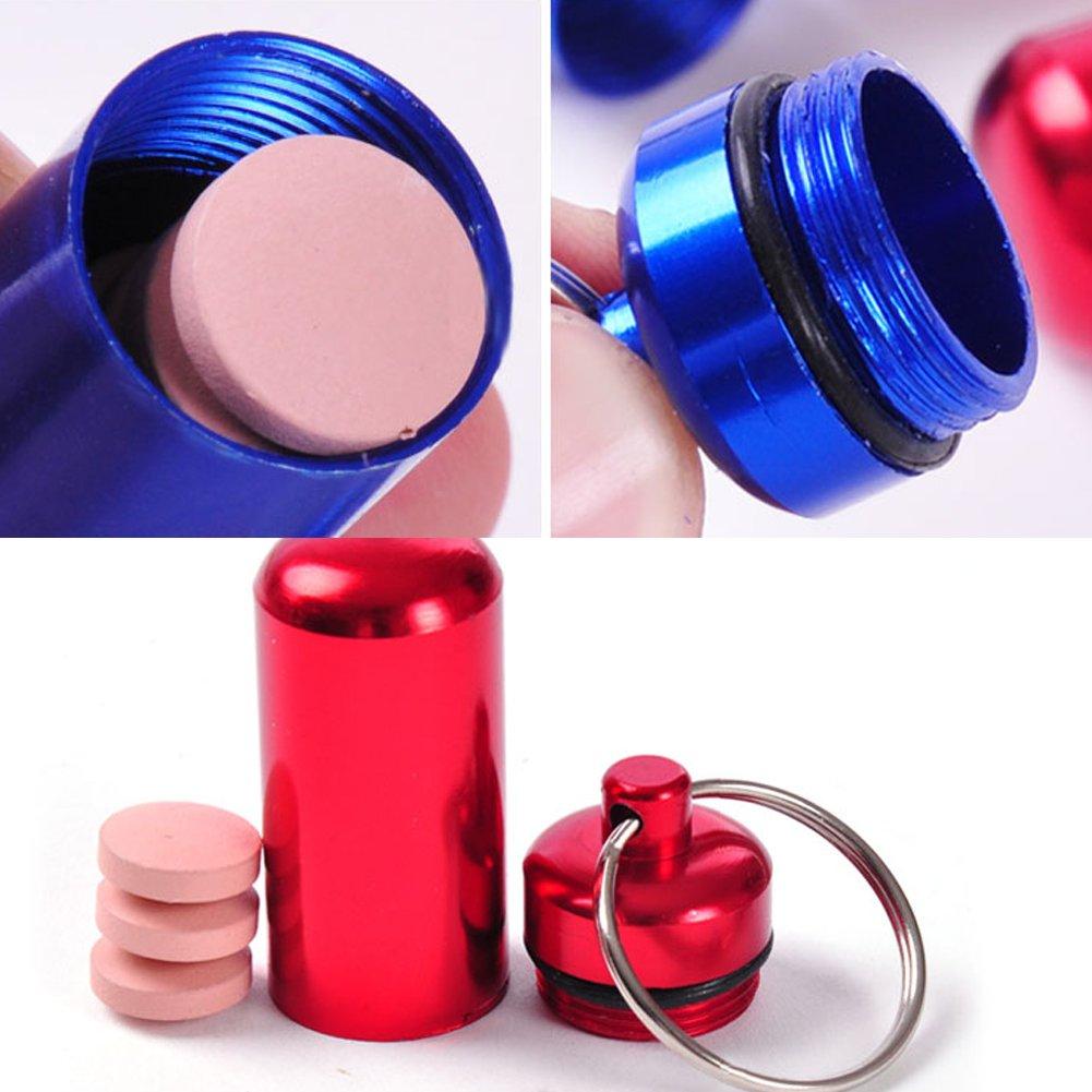 Juego de 9 pastilleros de aluminio impermeable con llavero Botella de medicina al aire libre llavero peque/ño Gallipot primeros auxilios contenedor de p/íldoras H0008