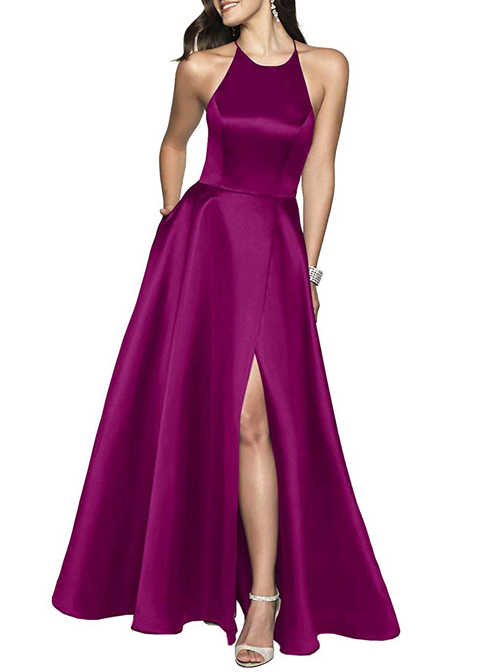 Raspberry YUSHENGSM Women's High Neck Satin Long Prom Dresses for Women Formal Evening Party Gowns