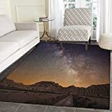 Night Rugs for Bedroom Milky Way over Desert of Bardenas Spain Ethereal View Hills Arid Country Circle Rugs for Living Room 4'x6' Plum Apricot Chocolate
