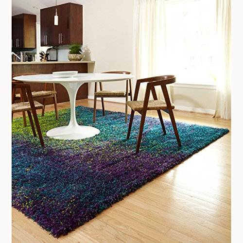 Amazon.com: Shag Peacock Multi Colored Plush Rectangle Area Rug Blue Purple  Lime Green (5u00272 X 7u00277): Kitchen U0026 Dining