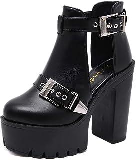 YAN Haut Talon Sandales d'été Nouvelle Mode Chaussures de Plage Chaussures compensées Chaussures de Mode Casual Plate-Forme Chaussures de Femmes Noir,Black,36