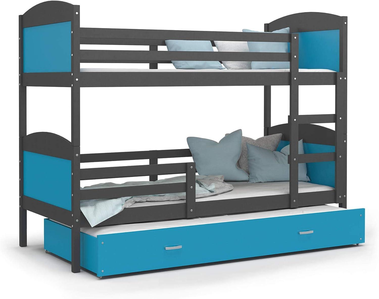KIDS LITERIE litera 3 Dormir Mateo 190 x 90 Gris + Azul Incluye 3 somieres y 3 – Colchón de Espuma de 7 cm