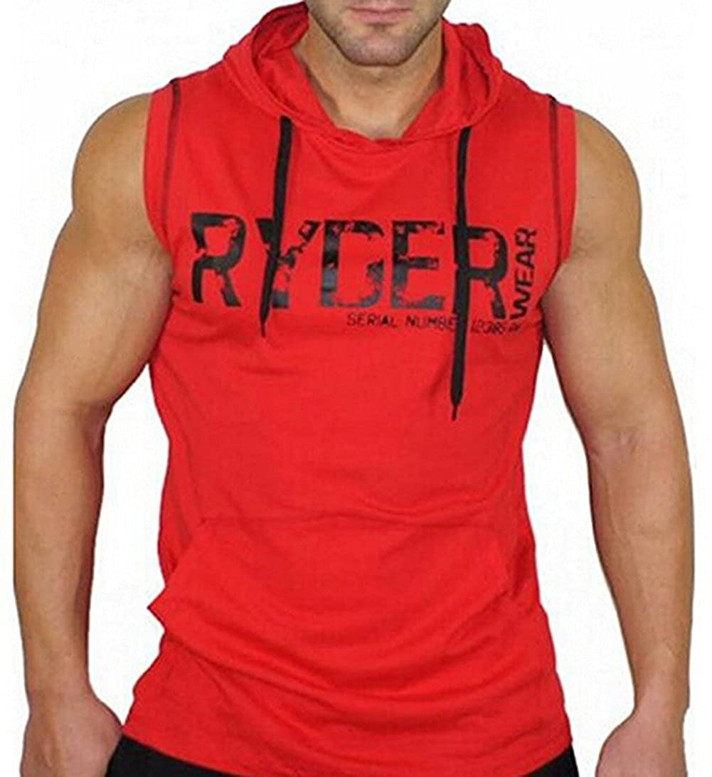 RUEWEY Men Sleeveless Fitness Hoodie Sweat-Shirt with Kangaroo Pockets