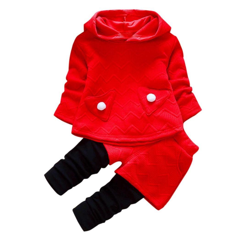 SUCES Kleinkind Kinder Baby Outfits Langarm mit Kapuze T-shirt Tops + Hosen Kleidung Set Neugeboren Herbst Winter Baby Mädchen Set Kleidung Pullover Mit Kapuze Sweatshirt +Hosen