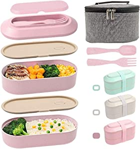 IAXSEE Lunch Box for Women Bento Box with Containers 2-In-1 Compartment Eco Friendly Lunch Container Wheat Straw Leak-proof Stackable with Elastic Band and Lunch Bag(Pink)