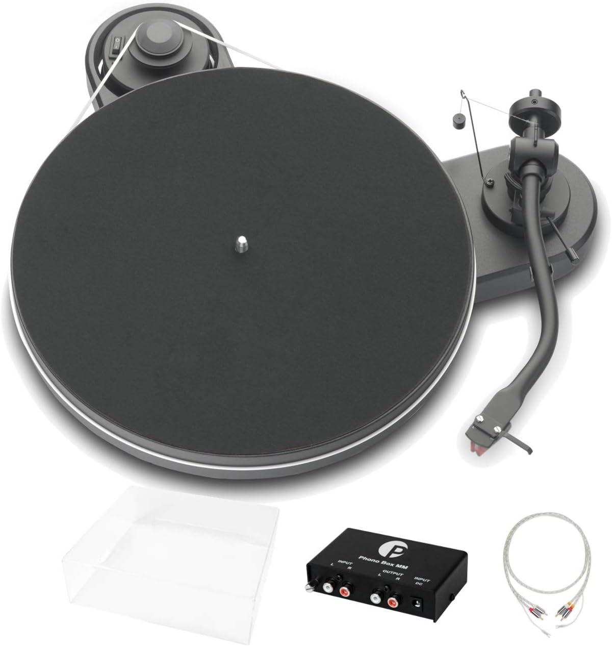Pro Ject Rpm 1 3 Genie Superpack Audiophiles Einsteigerset Mit Plattenspieler Phonovorstufe Abdeckhaube Und Kabel Matt Schwarz