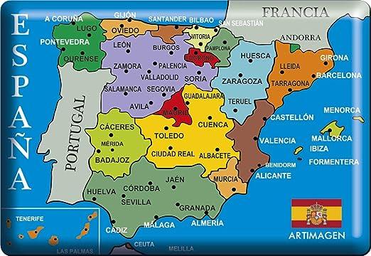 Artimagen Imán Mapa Ciudades España Azul 80x55 mm. Resina: Amazon.es: Hogar