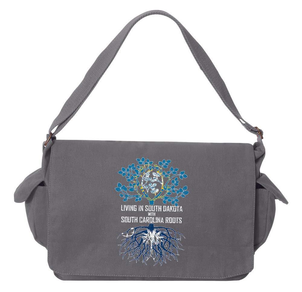 Tenacitee Living In South Dakota with South Carolina Roots Grey Brushed Canvas Messenger Bag