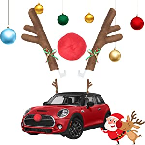 Diva en Camino Christmas Reindeer Car Kit Antlers & Nose with Jingle Bells Decorations – Rudolph Holiday Vehicle Costume Auto Accessories for Front Grille and Window Roof-top