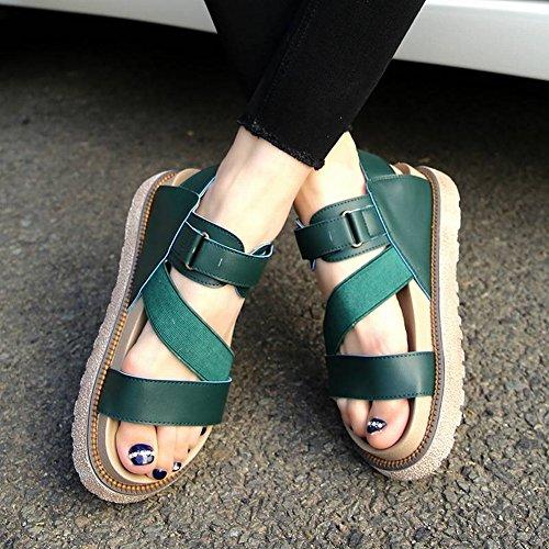TYERY Sandalias Planas Simple Estudiante Todo Coincida Arena Plataforma Gruesa Slender con Zapatos Romanos, Negro, 35