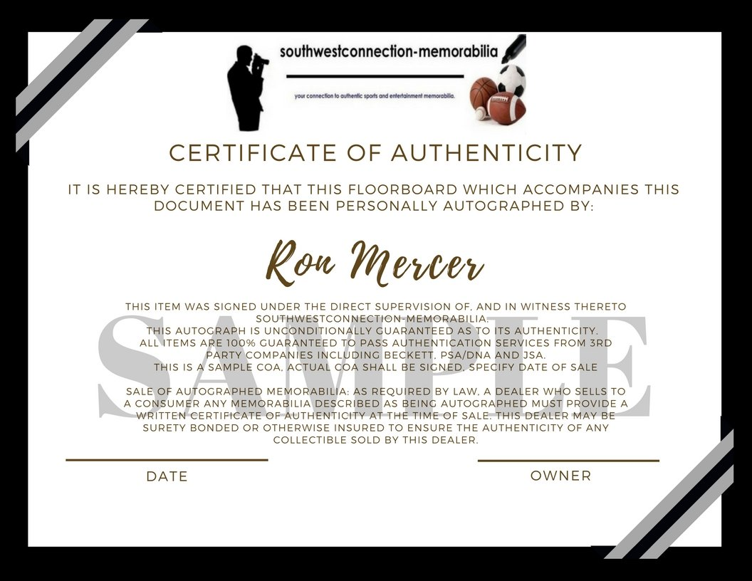 San Antonio Spurs Ron Mercer Autographed Hand Signed Logo 6x6 Parquet Floorboard with Proof Photo of Signing and COA Basketball Floor Boards