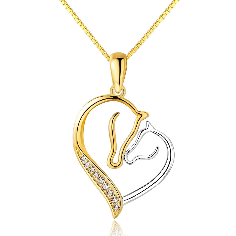 ced277ac4 MORANY 925 Sterling Silver Horse Head Heart Pendants Necklace Women Girls  Jewelry (18K Gold Plating), ...