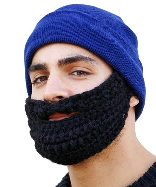 c453e64b676 Rockjock Fuzz Face Wacky Beard Men Boy Girl Beanie Winter Warm Knit Outdoor  Hat Christmas Gift BLUEBLACK  Amazon.co.uk  Clothing