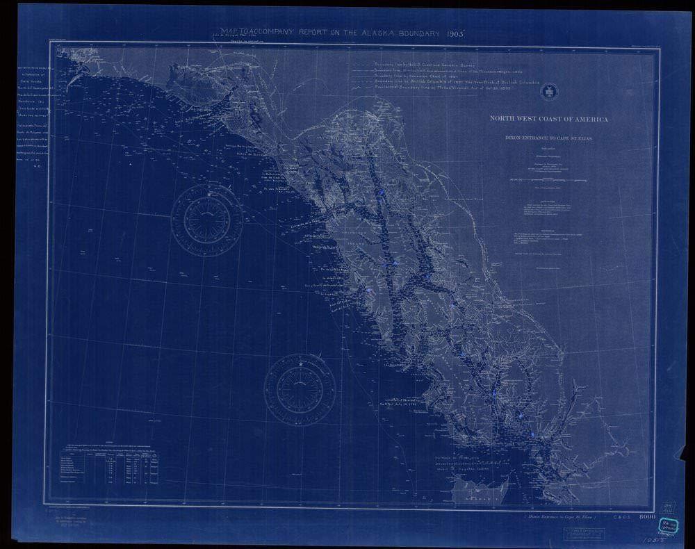 NOAA Blueprint Style 18 x 24 Nautical Chart Map to Accompany Report on The Alaska Boundary 1903 Northwest Coast of America Dixon Entrance to Cape Saint Elias U.S. Coast Survey 61a