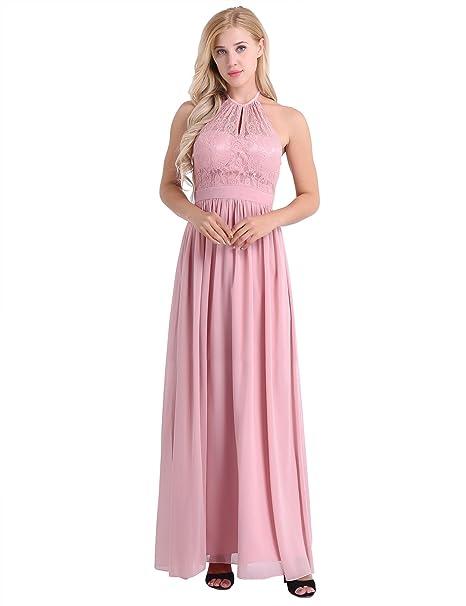 Amazon Iefiel Women Elegant High Neckline Lace Halter Chiffon