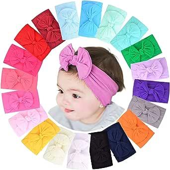 20 diademas elásticas con lazo para el pelo, de nailon, accesorios infantiles para niñas, niños y bebés recién nacidos