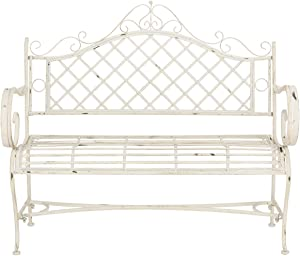 "Safavieh PAT5017A Collection Adina Antique White Wrought Iron 51.25"" Outdoor Garden Bench"
