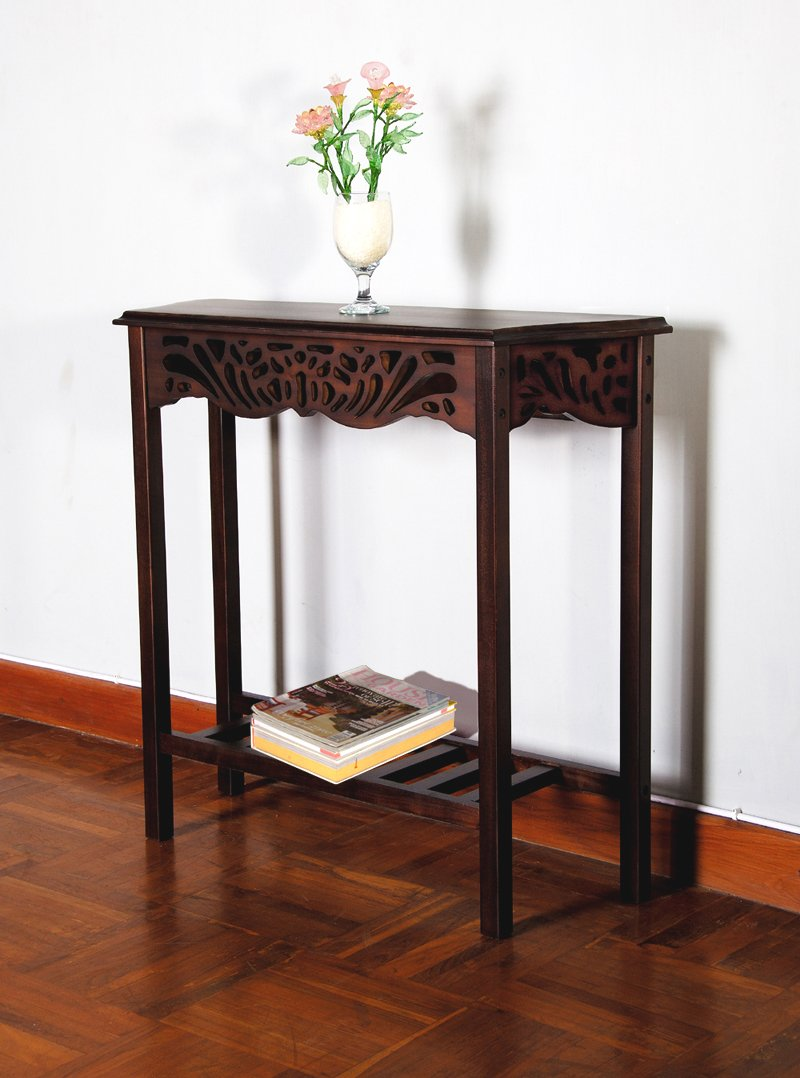 D-Art Winston Carved Wall Table in Mahogany Wood