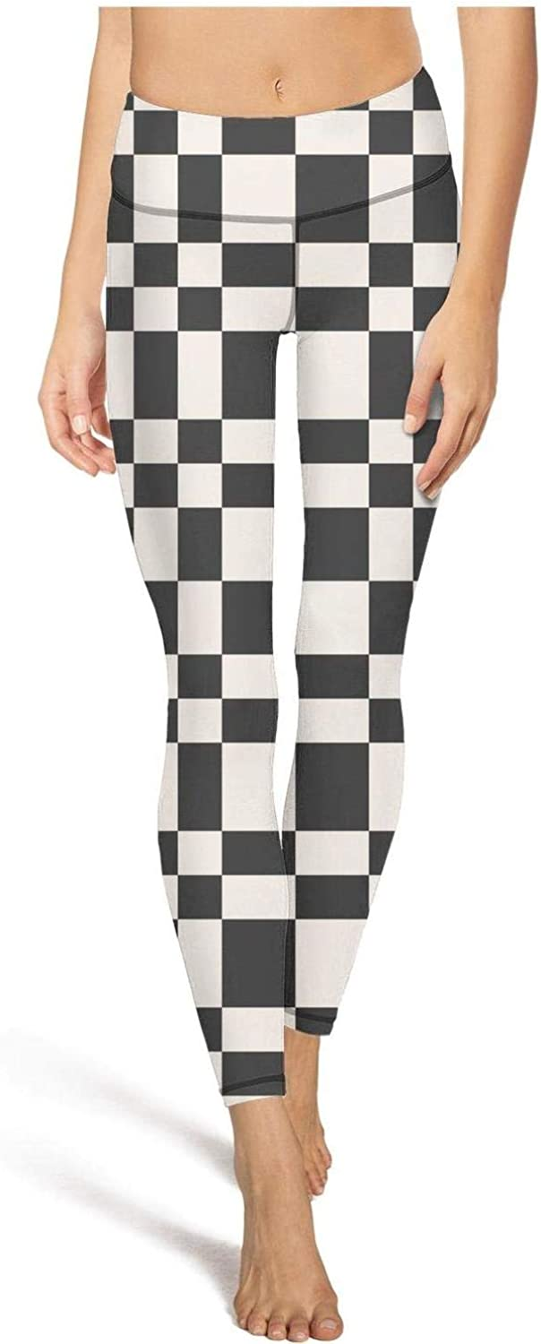 AIKYAN Checkerboard Abstract Monochrome Chequered Womens Yoga Pants Training Leggings Trendy Capris