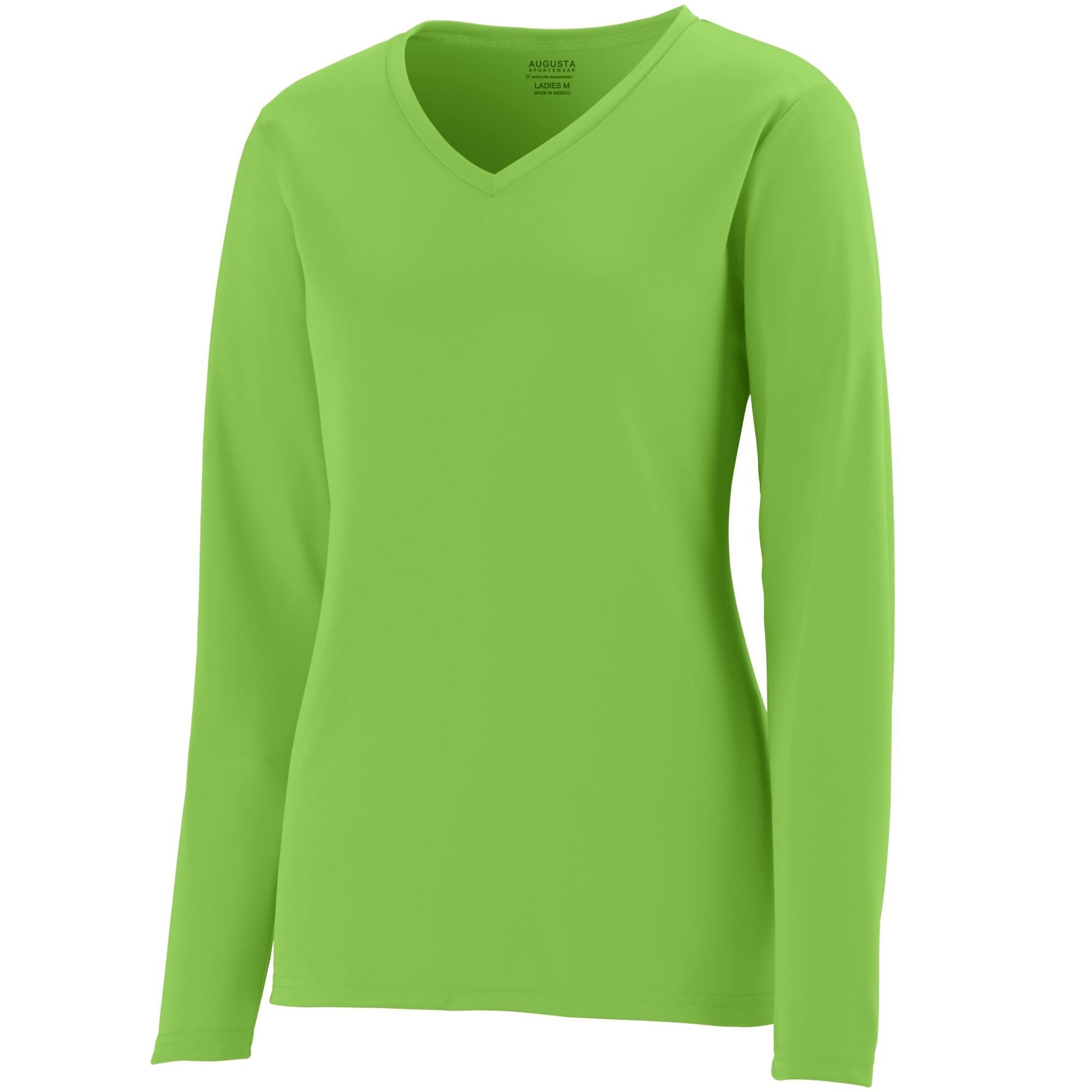 Augusta Sportswear Womens Long Sleeve Wicking T-Shirt, Lime, 3X-Large
