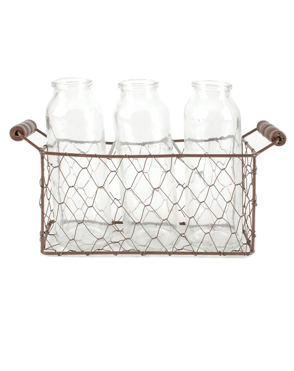 Blossom Bucket 131-36732 Tall Square Metal Basket with Three Glass Bottles, 12 X 8''