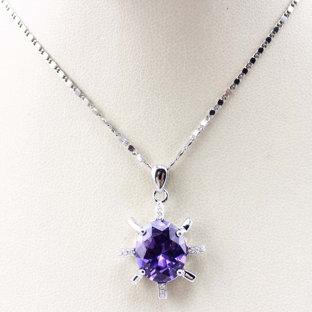 Jade Angel Sterling Silver 10x12mm Purple Cubic Zircon Pendant with Chain Necklace 18 Inches