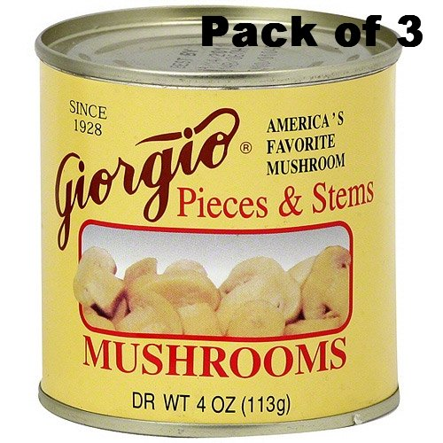 Giorgio Mushrooms, Pieces and Stems, 4 Oz. Cans,Pack of 3
