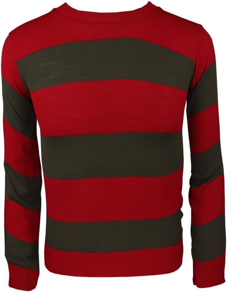 7-8 Adults Kids Knitted Jumper Fancy Dress Character Sweaters Casual Stripped TOP#RED-Black#Boys