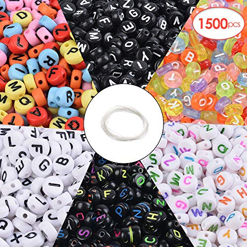 - Souarts 1500pcs Letter Beads 6 Styles Acrylic Letter Beads Round Alphabet Letter Beads for Bracelet Bracelets Jewelry Making Key Chains and Kids Jewelry 4x7mm