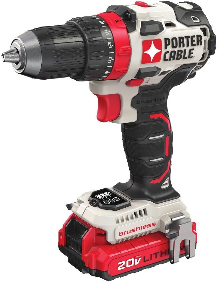 PORTER-CABLE 20V MAX Cordless Drill Driver Kit, 1 2-Inch PCCK607LB
