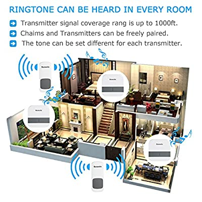 Wireless Doorbell with 2 Remote Button and 3 Plugin Receiver by Suwoic, Waterproof Transmitters, No Battery Required Receivers, 52 Chimes, 1000 Feet Operating
