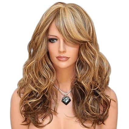 Baofeng rizado ondulado pelucas 3 Tones Color – Gradiente Color mujeres pelucas cosplay peluca de pelo