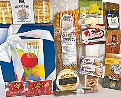 Gourmet Birthday Gift Box Basket - Mom / Dad / Son / Daughter / Grandma / Grandpa / Uncle / Aunt / Sister / Brother / Neighbor / Friend / Coworker - Over 4.5 Lbs - Send Happy Wishes Today!