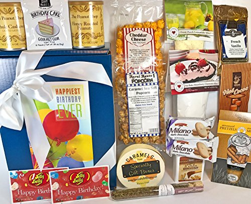Gourmet Birthday Gift Box Basket - Mom/Dad/Son/Daughter/Gma/Gpa/Uncle/Aunt/Sis/Bro/Friend - Premium Cheescake Mix Nuts Popcorn Candy Pretzels Tea Coffee Cocoa - Over 4 Lbs - Send Happy Wishes Today!