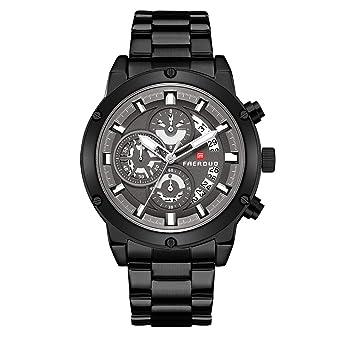 FAERDUO Reloj para hombre Cronógrafo Reloj de cuarzo analógico resistente al agua 30 metros Partido pulsera de acero inoxidable Negro: Amazon.es: Relojes