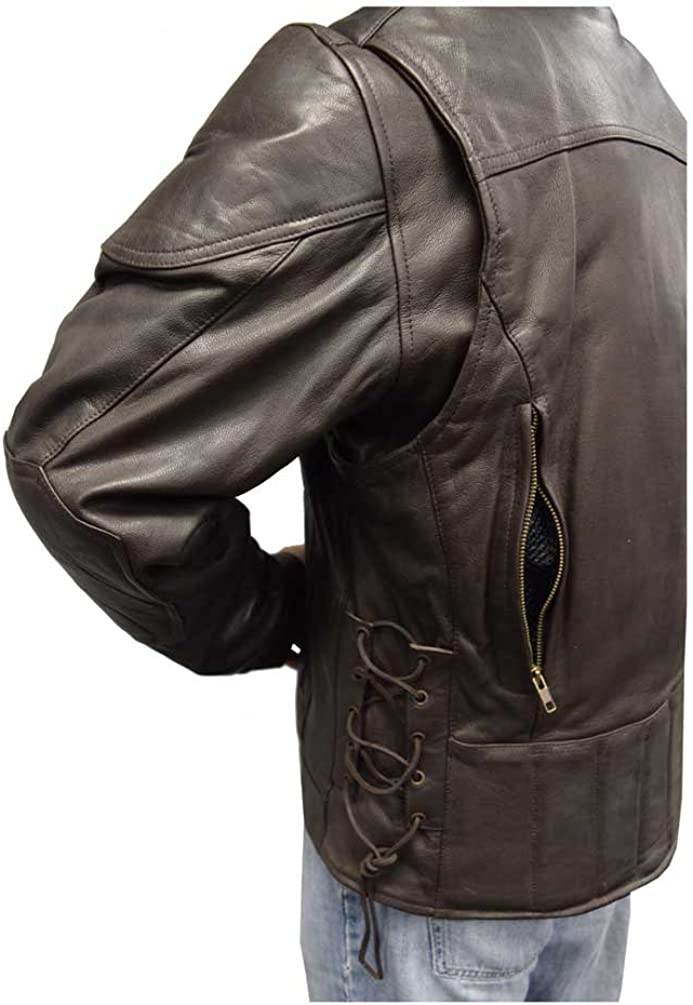 Brown M-400-BROWN Redline Mens Leather Touring Side-Lace Motorcycle Jacket