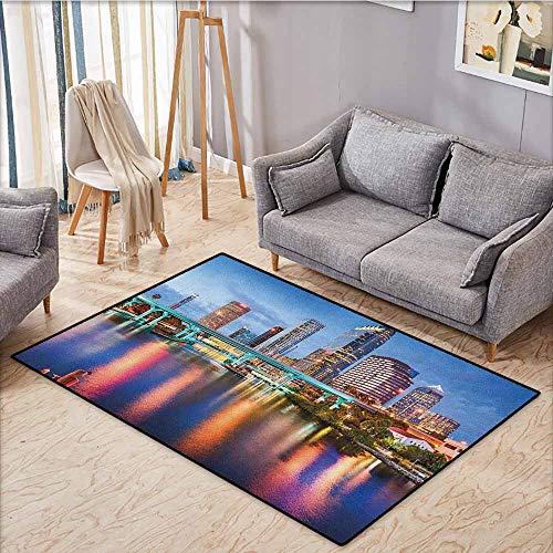 Living Room Rug,City,Hillsborough River Tampa Florida USA Downtown Idyllic Evening at Business District,Rustic Home Decor,5'6