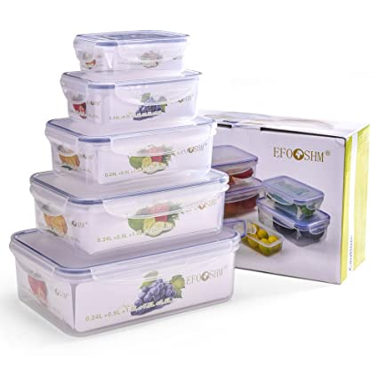 Exceptionnel EFOSHM 5 Pieces Food Storage Containers With Lids Locking,Lunch Container,Fridge  Organizer Set