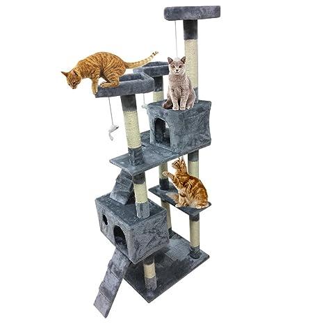 Homgrace Árbol para Gato con Rascador, 2 Casetas con Recubrimiento de Felpa para Que los