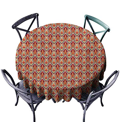 (VIVIDX Washable Round Tablecloth,Retro,Nature Inspired Abstract Repeating Motifs Curvy Leaves and Petals Antique Rococo,Table Cover for Kitchen Dinning Tabletop Decoratio,50 INCH,Multicolor )