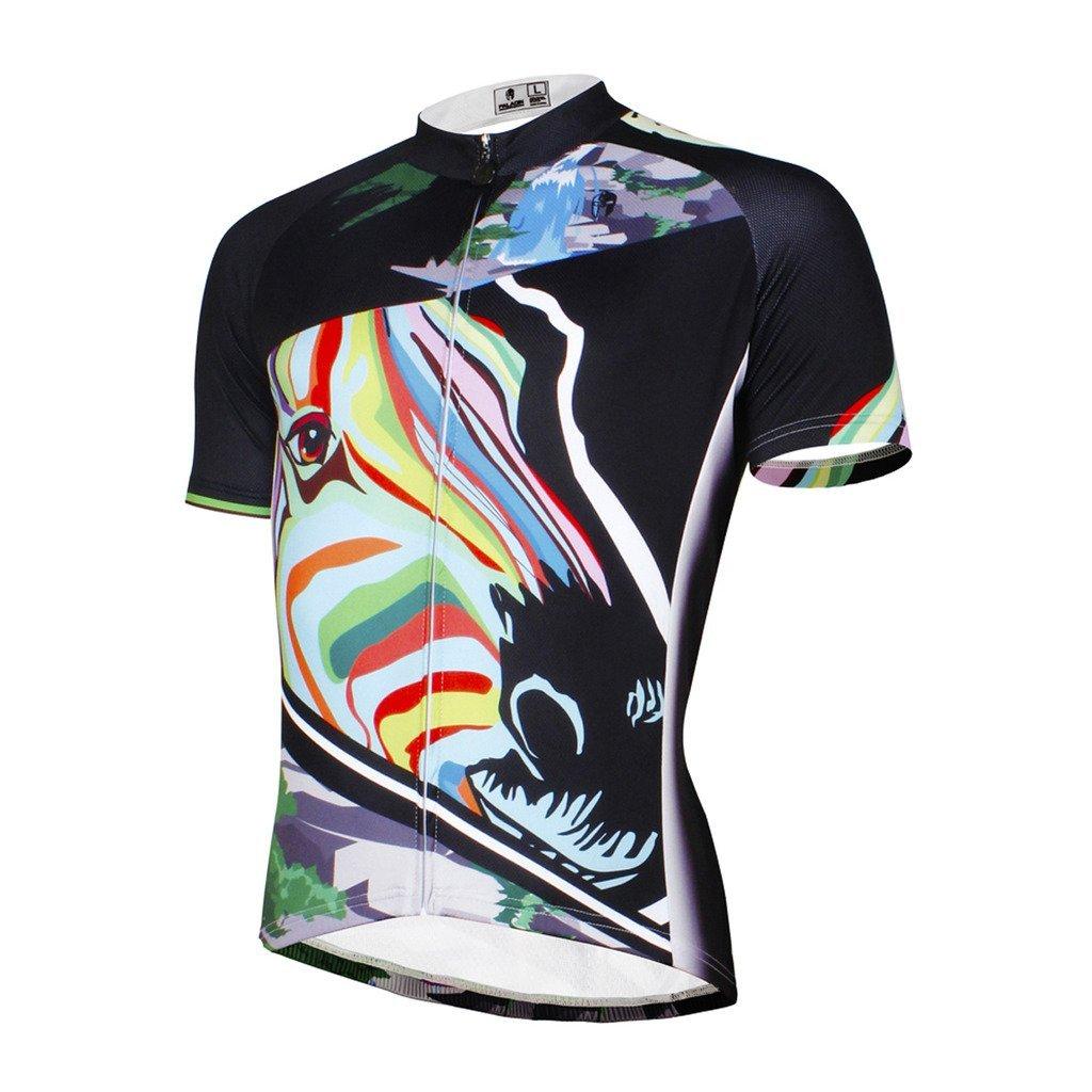 Amazon.com   Paladinsport Colored Zebra Pattern Men s Short Sleeve Bike  Apparel Size 5XL   Sports   Outdoors 0b16e2f3b